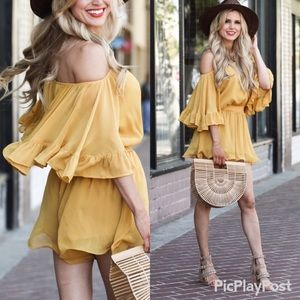 🆕Endless Rose Flowy Ruffle Crepe Romper in Yellow